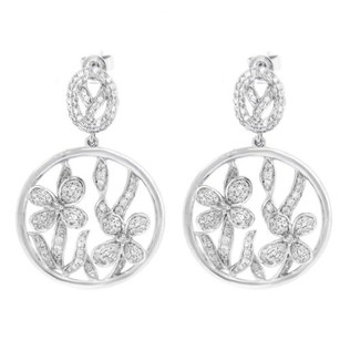 Other Glk 14k White Gold 1.336ct Diamond Flower Drop Earrings