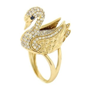 Other Glk 14k Yellow Gold 1.70ct Diamond Swan Ring
