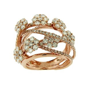 Other Glk 18k Rose Gold 4.03ct Diamond Flower Ornament Ring