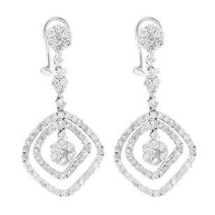 Other Glk 18k White Gold 3.22ct Diamond Drop Earrings