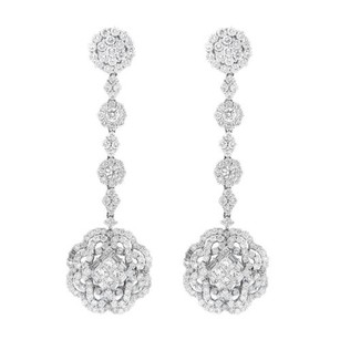 Other Glk 18k White Gold 6.00ct Diamond Flower Dangle Earrings