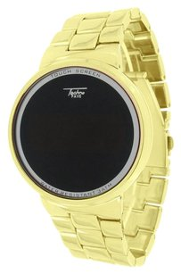 Gold Finish Smart Touch Screen Watch Techno Pave Digital Display Metal Band Sale