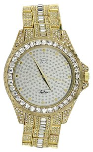 Gold Finish Watch Techno Pave Simulated Diamonds Iced Out Rapper Wear Hip Hop