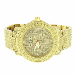 Gold Tone Khronos Watch Mens Iced Out Real Diamonds Canary Iced Out Stones