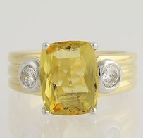 Golden Beryl Heliodor Diamond Ring - 18k Yellow White Gold Genuine 3.50ctw