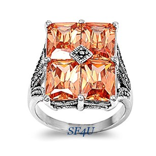 Other Gorgeous Rhodium Plated Ring W/Champagne AAA + CZ, Size 8