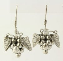 Grape Bunch Earrings - Sterling Silver 925 Dangle Pierced Fruit Mexico Womens
