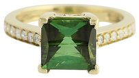 Other Green Tourmaline Diamond Ring - 18k Yellow Gold Solitaire With Accents 3.44ctw