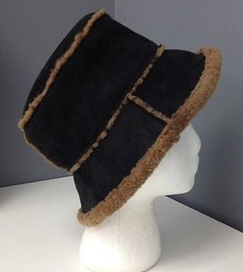 Grevi Firenze For Neiman Marcus Black W Brown Lamb Fur Bucket Hat Os B3574