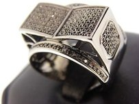 Mens All Black On Black Diamond Xl3d Raised Square Ring