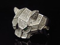 White Gold Finish .925 Sterling Silver Simulated Lab Diamond Panther Face Ring