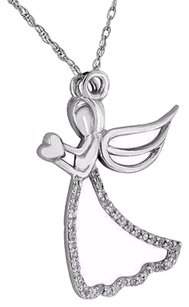 Guardian Angel Holding Heart Pendant Real Diamonds 10k White Gold Necklace