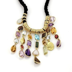 H. Stern 200ct Multi-color Gems 18k Gold Dangling Pendants Cord Necklace
