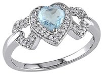 Other 10k White Gold Diamond Sky Blue Topaz Interlocking Braided Heart Love Ring