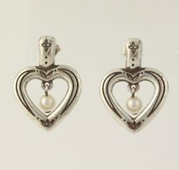Other Heart Earrings - Sterling Silver Pierced Faux Pearl