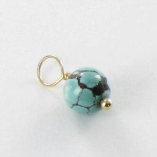 Other Heather B Moore Charm December Birthstone 7.5mm Variegated Turquoise14k Yg