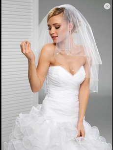 High Quality Bridal Veil With Beads All Around It.