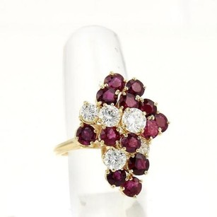 High Quality Estate 5.50ct Diamonds Rubies Cluster Ring In 18k Yellow Gold