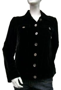 Holly In Hanoi Silk Velvet Pointed Collar Jacket Blazer Black Hlo8-4