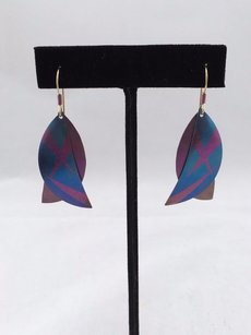 Holly Yashi Blue Lavender Double Leaf Style Earrings