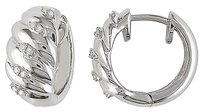 Sterling Silver Accent Diamond Hoop Cuff Earrings 0.1 Cttw G-h I3