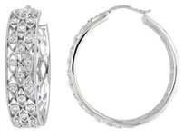 Other Sterling Silver Accent Diamond Hoop Earrings 0.1 Cttw G-h I1-i2