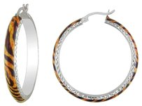 Other Sterling Silver Tiger Striped Hoop Earrings