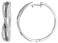 Other Sterling Silver 13 Ct Black Diamond Infinity Swivel Hoop Cuff Earrings