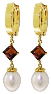 9.5 CT 14K Yellow Gold Natural Pearl and Garnet Earrings