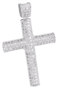 Iced Out Mens Cross Pendant Cylinder Design Simulated Diamonds Celebrity Wear