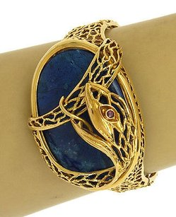 Ilias Lalaounis 18k Yellow Gold Ruby Blue Lapis Snake Design Bangle Bracelet