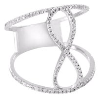 Infinity Design Ring 14k White Gold Womens Real Diamonds Unique Custom Ladies