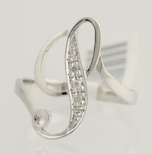 Initial Cocktail Ring - 14k White Gold Womens Gift Fine .02ctw