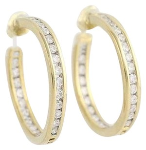 Inside-out Diamond Half-hoop Earrings - 18k Yellow Gold Pierced 1.40ctw