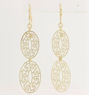 Italian Maze Dangle Earrings - 14k Yellow Gold Hooks Drop Womens Fine Estate