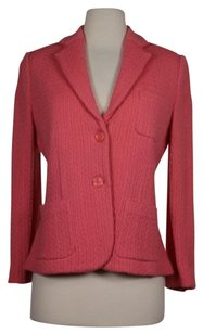 Itsu Womens Pink Knit Blazerjacket 100 Wool Long Sleeve