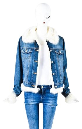d7f691ebf7b outlet Vinicio Pajaro Blue Cream Cotton Denim Faux Fur Lined Jacket   20193283 - Jackets
