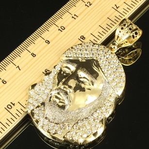 Jesus Christ Side Face Silhouette Lab Diamond 110 10k Yellow Gold Icy Pendant