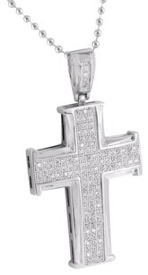 Other Jesus Cross Pendant Charm Stainless Steel Bead Chain White Simulated Diamonds