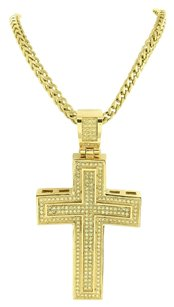 Jesus Cross Pendant Necklace Set Yellow Simulated Cz Stones Stainless Steel Mens