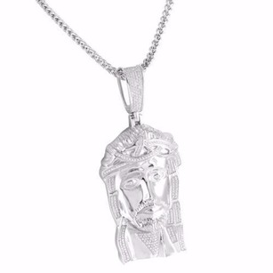 Other Jesus Mens Pendant Chain Sterling Silver White Gold Finish Simulated Diamond