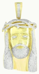 Jesus Pendant Mens 14k Yellow Gold Finish Lab Diamond Hip Hop Celeb Wear 3.6 In