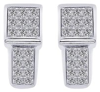 1.00 Carat Princess-cut Quad Diamond J-hoop Earrings 14k White Gold
