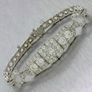 1920s Antique Art Deco Estate Womens Platinum 11.0ctw G Si1 Diamond Bracelet