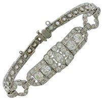 Other 1920s Antique Art Deco Estate Womens Platinum 11.0ctw G Si1 Diamond Bracelet