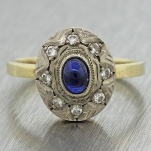 1950s Vintage Art Deco Estate 14k Yellow White Gold Sapphire Diamond Ring