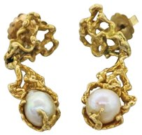 Other Vintage Estate 14k Solid Yellow Gold Form Pearl Dangle Drop Earrings