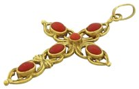 1930s Antique Art Deco Estate 18k Solid Yellow Gold Coral Cross Necklace Pendant