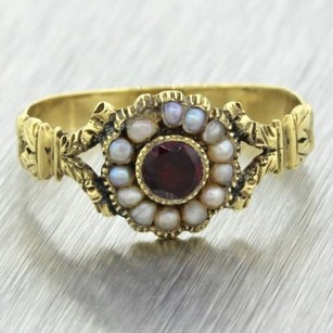 1890s Antique Victorian Estate 14k Solid Yellow Gold Ruby Pearl Band Ring