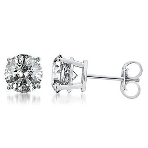 14k Mens Ladies White Gold Round Cut Diamond Solitaire Studs Earrings Ct